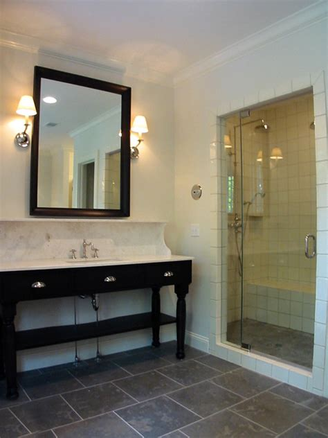 staggered tile transitional bathroom dresser homes