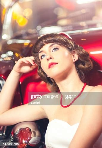 Beautiful Young Pin Up Girl Portrait By The Car High Res
