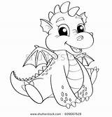 Coloring Dragon Cute Cartoon Pages Football Royalty Vector Dame Notre Illustration Adult Shutterstock Getcolorings Line Printable Hand sketch template