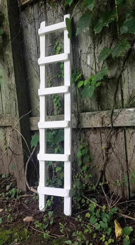 Primitive Country White Ladder Rustic Home Garden Decor