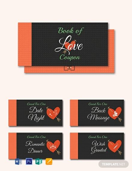 romantic love coupon book template word psd