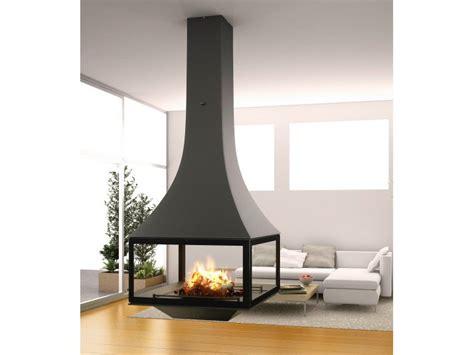 wood burning hanging fireplace  panoramic glass