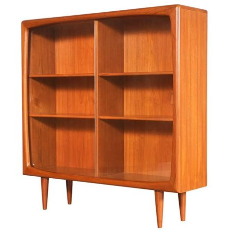 Danish Modern Teak And Glass Bookcase By Hp Hansen At 1stdibs