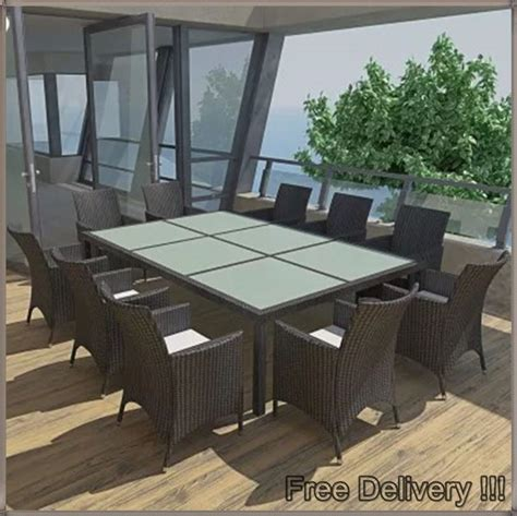 large garden dining set black rattan big glass table 10