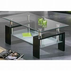 Verre Pour Table Basse : table basse plateaux verre noir autres mobilier 3suisses ~ Teatrodelosmanantiales.com Idées de Décoration
