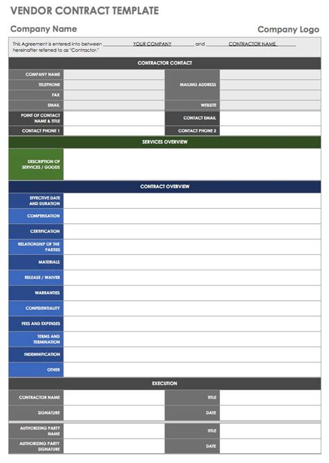 vendor templates smartsheet
