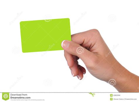 Woman Holding A Blank Gift Card Stock Photo