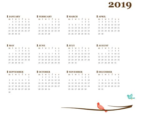 2019 Yearly Calendar (mon-sun
