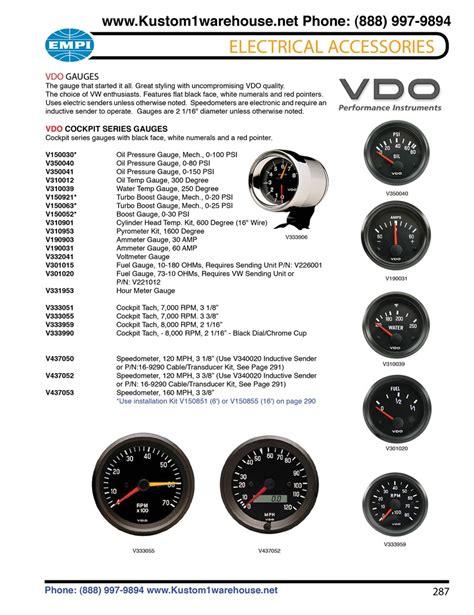 Vdo Cockpit Gauges Oil Pressure Water