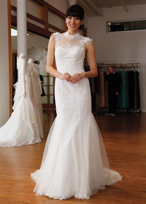 melissa sweet vintage trumpet high neck wedding gown