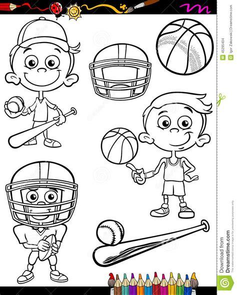sport boy set cartoon coloring page stock vector image