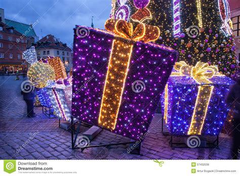 presents illuminated at stock photo