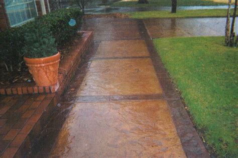 stained concrete walkway photos bill s custom concrete oklahoma city s best concrete contractor and yard drain specialist