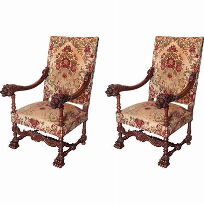 Louis Xiv Wood Antique Walnut France Chairs