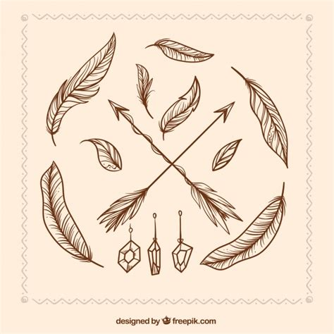 hand drawn arrows  feathers vector