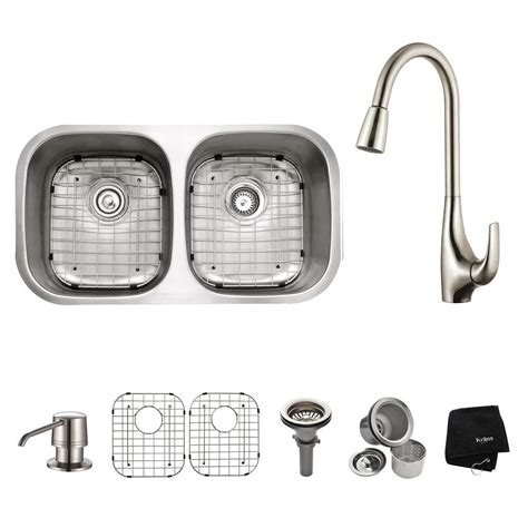 home depot kitchen sink accessories kraus all in one undermount stainless steel 32 in double