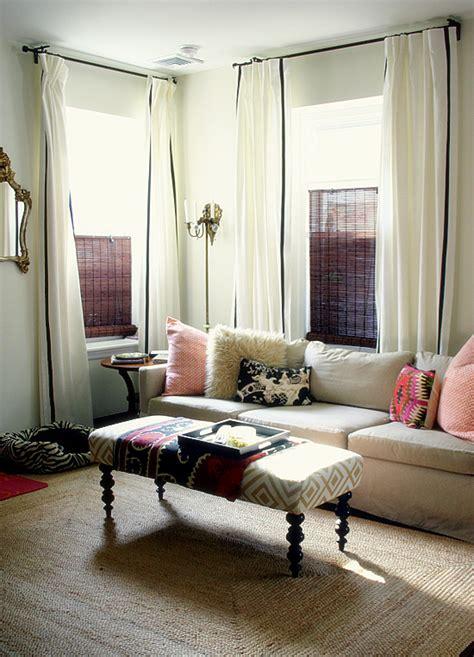 dm living room corner white curtains black trim design