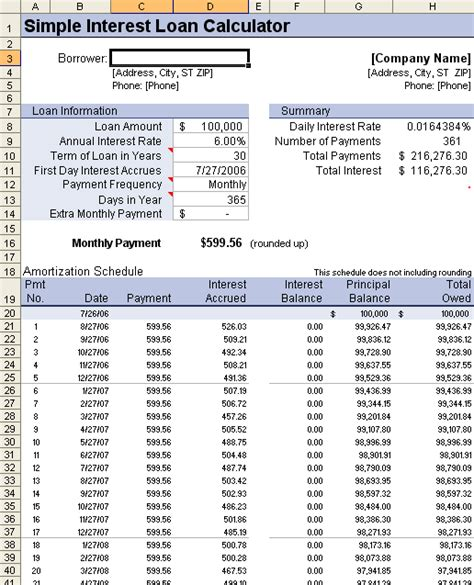 loan amortization table calculator loan amortization schedule and calculator