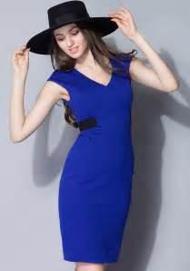 Navy Blue Color Block Cut Out Slim Dress