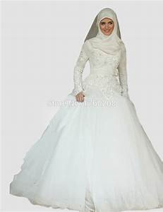 beautiful princess long sleeve lace arabic islamic wedding With robe de mariee de luxe