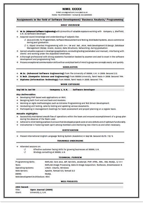 resume sle for java fresher