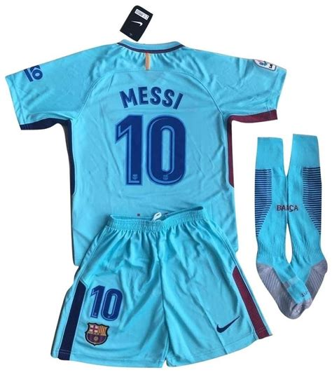 Lionel Messi 10 Barcelona Away Jersey For Kids 2017 18