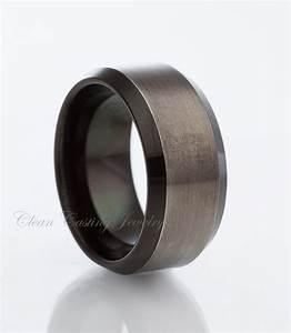 Black gun metal tungsten wedding bandsatin by for Mens gunmetal wedding rings