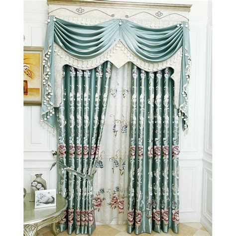 blue floral embroidery polyester luxury custom valance