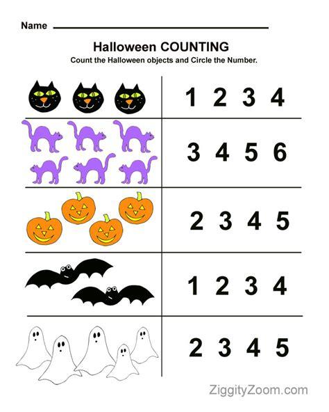 preschool worksheet for counting practice 190 | Halloween Counting1