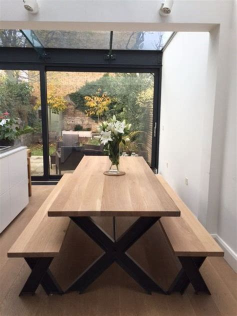 vintage steel  oak dining table  bench set