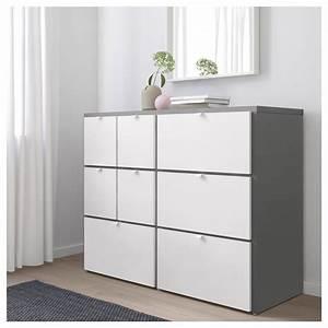 Commode 8 Tiroirs : visthus commode 8 tiroirs gris blanc 122 x 96 cm ikea ~ Teatrodelosmanantiales.com Idées de Décoration