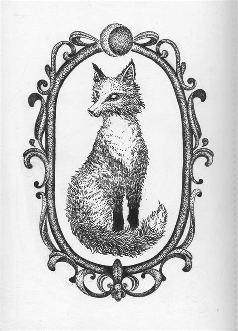 Fox in Frame Dotwork tattoo sketch | Best Tattoo Ideas Gallery