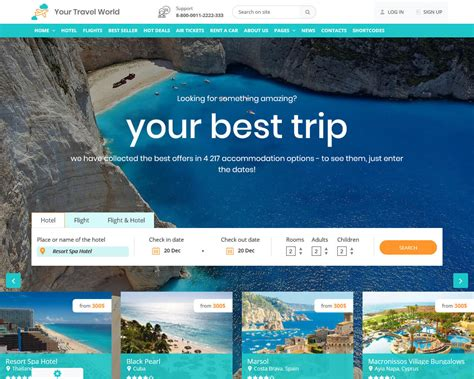 travel insurance website template 20 top travel and accommodation website templates 2018