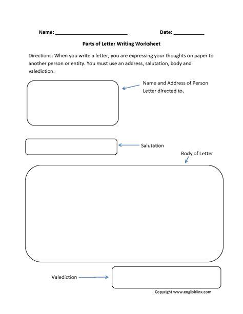 letter writing worksheets parts  letter writing worksheets