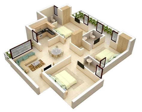 Surprisingly Design For Small Space House by Modern Bungalow Floor Plan 3d Small 3 Bedroom Floor Plans