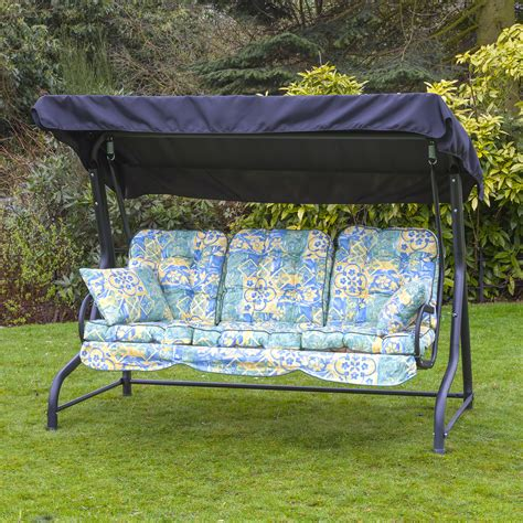 garden patio 3 seater black swing seat hammock with