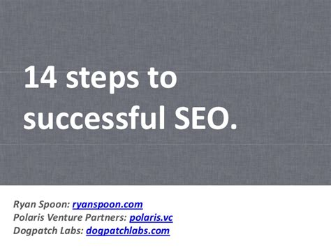 Seo Steps by 14 Steps To Successful Seo