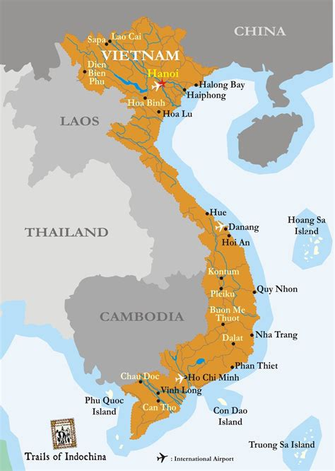 vietnam map trails  indochina vietnam vietnam map