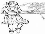 Hula Coloring Dancer Hawaiian Dance Printable Getcolorings Getdrawings sketch template