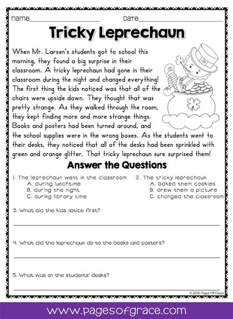reading comprehension passages and questions for march