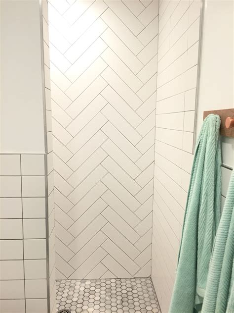 How To Lay Tiles In Bathroom by Master Shower Herringbone Tile Lay Tile Walk