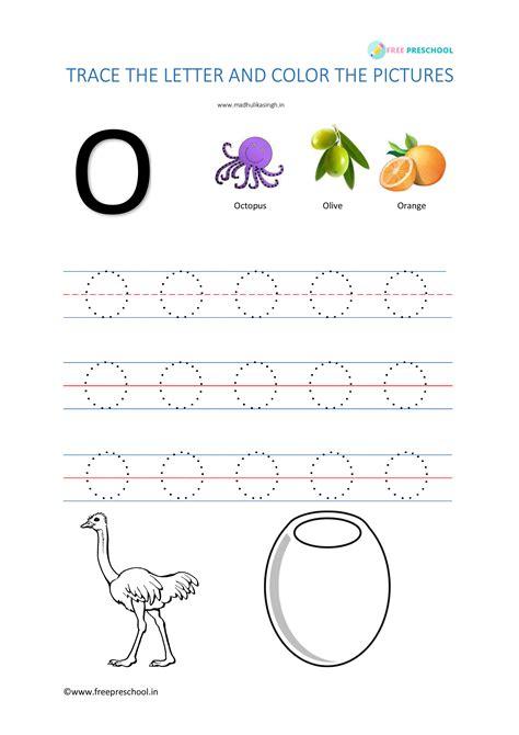 alphabet tracing letter oo  preschool