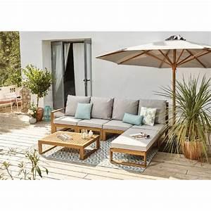 Decoration Jardin Gifi : salon de jardin 4 personnes en eucalyptus surabaya table chaise salon de jardin mobilier ~ Teatrodelosmanantiales.com Idées de Décoration
