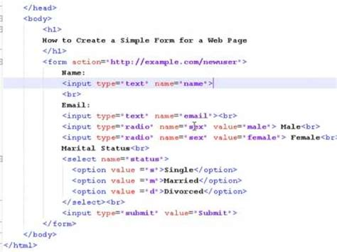 how to create web pages using html how to create a simple form for a web page youtube
