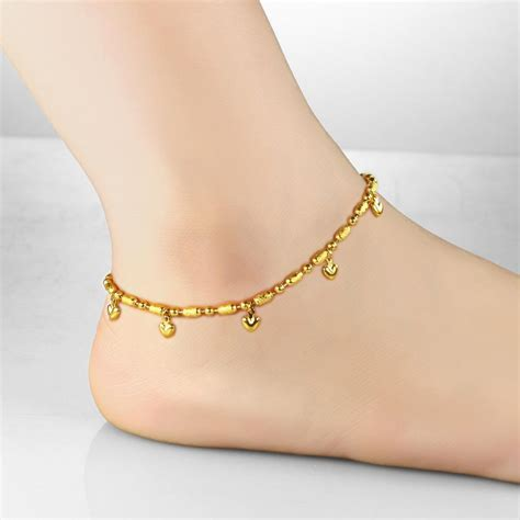 korean fashion  real gold plated anklet heart bell