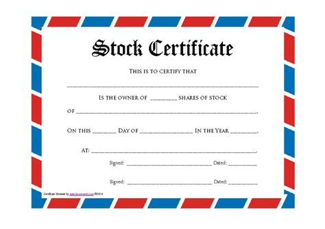 Stock Certificate Template 40 Free Stock Certificate Templates Word Pdf