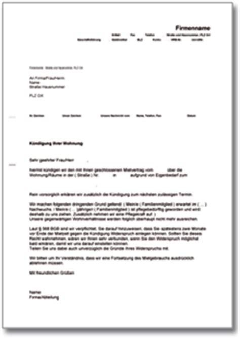 kündigungsschreiben mietvertrag vermieter k 252 ndigung mietvertrag vermieter eigenbedarf de musterbrief