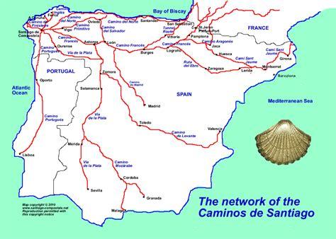 camino santiago map map of the caminos to santiago de compostela camino de