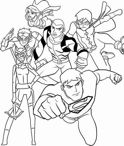 Justice Coloring Young Draw League Flash Drawing