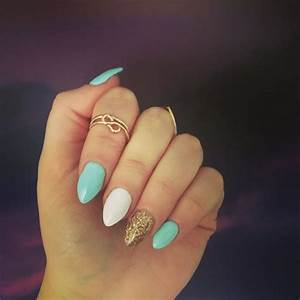 Teal Light White Gold And Teal Almond Nails Teal Nails Turquoise